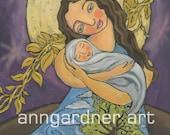 Mary Mother of the Earth Folk Art Print by Ann Gardner