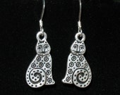 Earrings - Antiqued Silver Cat with Spirals Earrings with Sterling Silver Earwires