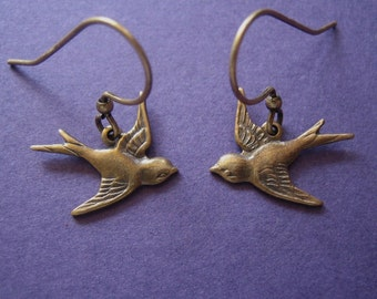 Earrings - Brass Swallow Earrings