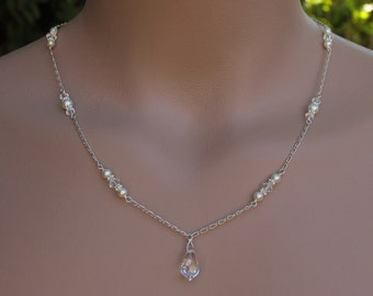 Bridal Lariat Necklace with Swarovski Pearls, Crystals and  Teardrops with Backdrops with Pendant in Front - Handmade Wedding Jewelry
