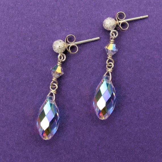 Bridal Earrings - Swarovski Aurora Borealis Briolette and Crystal Earrings on Sterling Silver Stardust Earposts - Handmade Wedding Jewelry