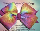 Boutique Girls Swirl Tie Dye Hair Bow Large 4 inches