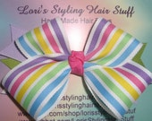 Boutique Girls Large Pastel Stripe Hair Bow 4 inches