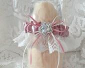 Vintage Rose Satin-Antique White Wedding Garter--1