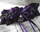 Purple Lace- Black Satin Skull Crossbones Garter-Goth Wedding-Pirate Wedding-Prom Garter-Bachelorette Party-Hen Party-Toss Garter