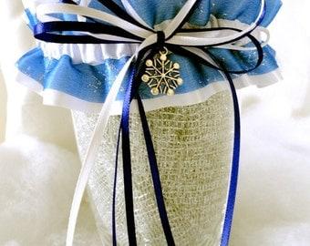 Snow White Satin-Blue-Silver Snowflakes Garter