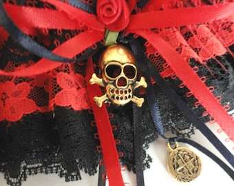Red-Black Lace Pirate Wench Garter-Skulls-Gold Dubloons