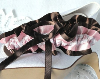 Cocolate Brown and Rose Pink Lace Garter-1-Sized to fit 14-20 inches-Prom Garter-Wedding Garter-50's Wedding-Country Wedding-One Only