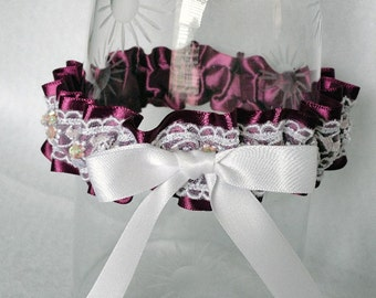 Violet Satin and White Embroidered and Beaded Lace Garter-1 Fits 14-18 inches