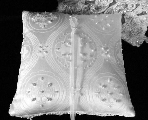 White Beaded Celtic Cross  Ring Pillow-Renaissance
