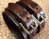 Leather cuff bracelet Double strap rich brown bridle Leather