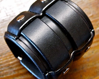 Leather cuff Bracelet Black wide Rocker Armband Custom made for YOU in NYC by Freddie Matara