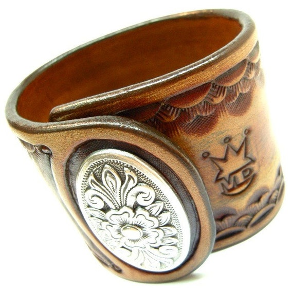 Leather Wristband Cuff Distressed brown Cowboy custom tooled Big Concho snap hand made for YOU In NYC by Freddie Matara!
