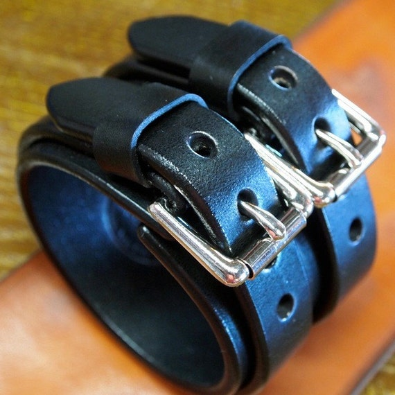 Leather cuff bracelet Black bridle leather Wristband with double straps handmade for You in NYC by Freddie Matara