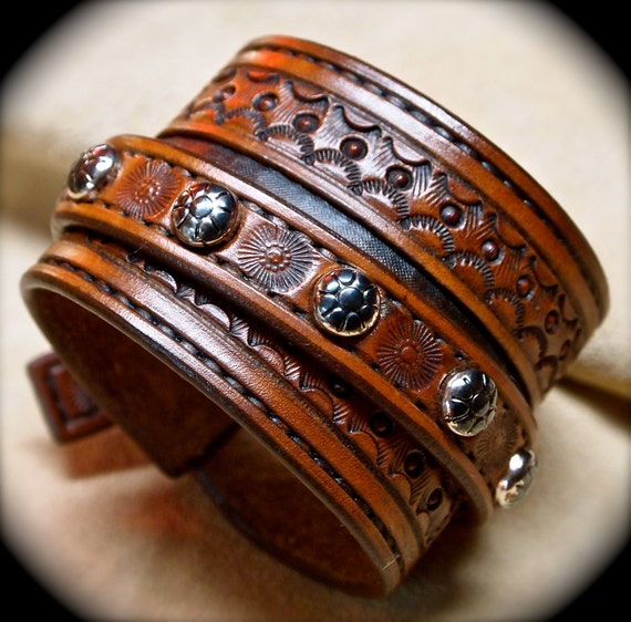 Leather cuff bracelet Custom hand tooled Suntan brown Made for YOU in NYC by Freddie Matara