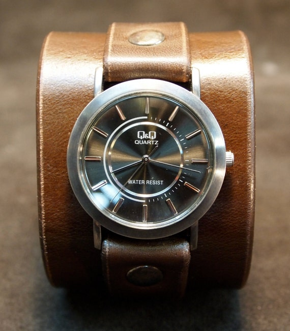 Nathan Drake Leather cuff watch Handmade in NYC