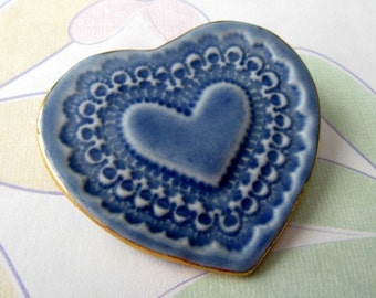 Blue Porcelain Heart Pin
