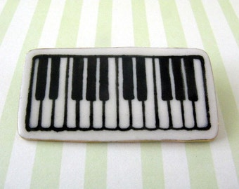Piano Keyboard Brooch Handmade Porcelain Ceramic Jewelry