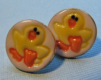 Yellow Duck Earrings Handmade Porcelain Ceramic Jewelry