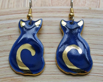 Cat Earrings Blue Dangle Porcelain Ceramic Jewelry