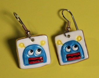 Monster Earrings Handmade Porcelain Dangle Jewelry Blue