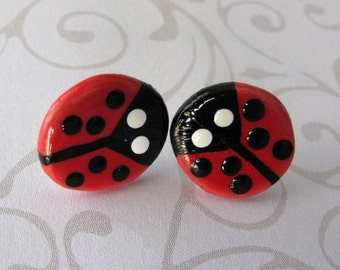 Lady Bug Earrings Handmade Porcelain Jewelry