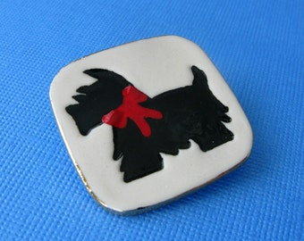 Black Scottie Dog Porcelain Pin