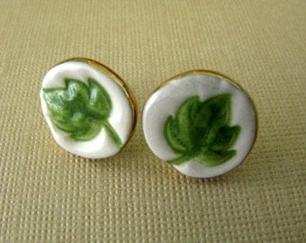 Green Leaf Post Earrings Handmade Porcelain Ceramic Jewelry