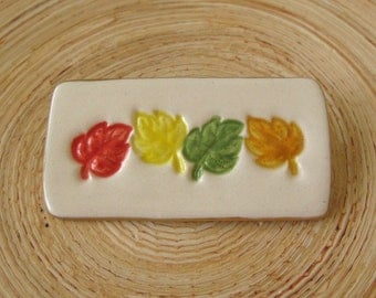 Seasonal Fall Leaf Brooch Handmade Porcelain Ceramic Jewelry