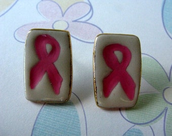 Pink Ribbon  Porcelain Post Earrings