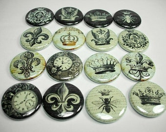 16 Fleur-De-Lis Crown Clock Buttons