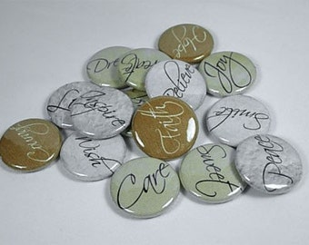 15 Wording Flat back Buttons or Pinback Buttons