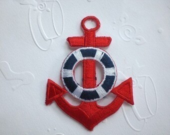 RED / WHITE Anchor with Bubble Iron On Patch / Applique 65x47 mm (2x2.5 inches) - Code PC025