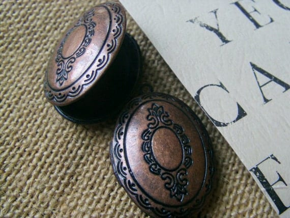 OVAL LOCKETS 36X25 mm (in red copper) - Code 523
