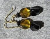 CU Colorado Buffaloes - Black and Gold Beaded Earrings