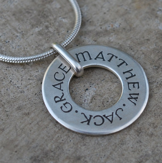 Spinning Circle personalized pendant in sterling silver - custom made with the names or birth dates of your choice - RESERVED for SimplySparkles
