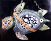 """STEAMPUNK  SEA TURTLE Pendant """"Tangled"""" polymer clay with lampwork bead"""