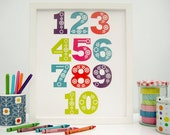 Folk Numbers - unframed print