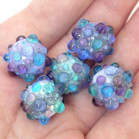 Blue Berries - Lampwork Glass Bead Set (5)