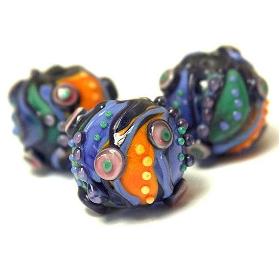 Secret Garden - Round Lampwork Glass Bead Mini-Set (3)