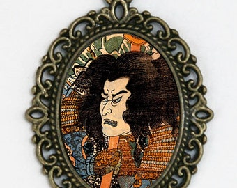 Japanese samurai necklace Warrior art tattoo DIY woodblock punk tattoo
