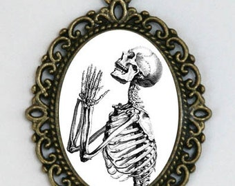 Skeleton Praying anatomy necklace odd gothic punk victorian diy