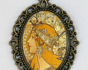 Art Nouveau necklace Girl goddess zodiac signs Edwardian Era diy