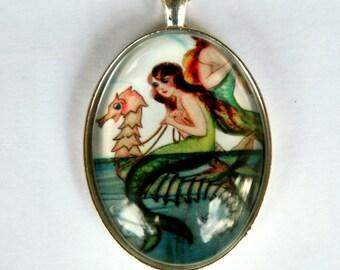 Mermaid necklace Seahorse ocean mermaid DIY  mermaid pendantLARGE 40x30mm glass domed pendant