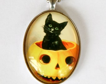 Black Cat in a Jack o Lantern necklace pumpkin halloween pendant LARGE 40X30mm Glass domed pendant