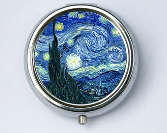 Starry Night Pill case pillbox box holder fine art painting DIY