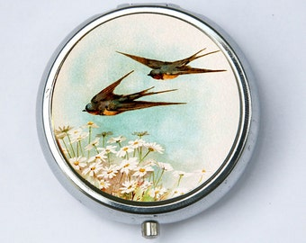 Swallows  Pillbox PILL case box holder Flying Daisies flowers birds nature calm pretty DIY