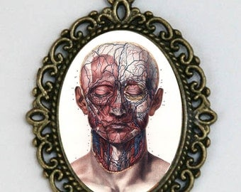 Anatomy medical necklace Human Face veins arteries vintage gothic punk  creepy steampunk