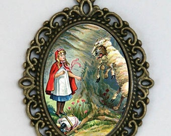 Little Red Riding Hood NECKLACE big bad wolf fairy tale story childhood Kitsch dIY