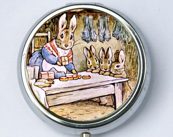 Benjamin Bunny pillbox PILL case box holder victorian fairy tale four rabbits DIY